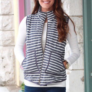 Basic Stripes Quilted Vest {Grey+White}