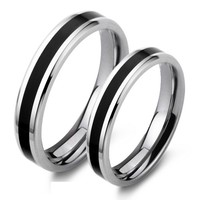 Engravable Titanium Steel His and Hers Wedding Bands Set