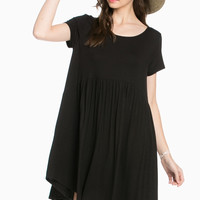 Laced Up Babydoll Dress - Black