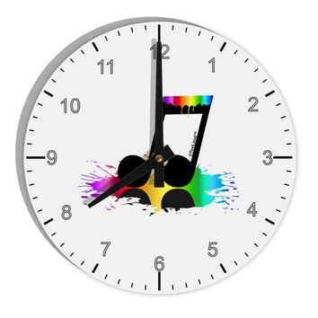 "Paint Music Note 8"" Round Wall Clock with Numbers"