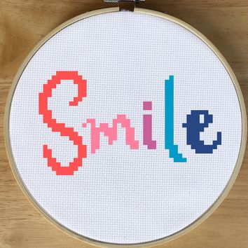 Quote Cross Stitch Pattern, Smile Cross Stitch