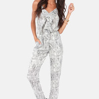 Together In Harmony Black and Ivory Print Jumpsuit