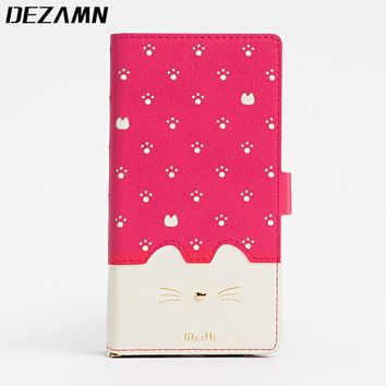 Cute Cat Leather Case For iPhone 6 For iPhone 7 Women Girly Wallet Card holder Flip Cover Cases For Coque iPhone 6 S 7 8 Fundas
