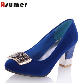 Asumer  2016  new elegant  rhinestone women pumps square heel round toe high-heeled women shoes fashion party wedding shoes