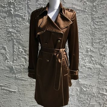 Cache Brown Satin Trench Coat, Size 10