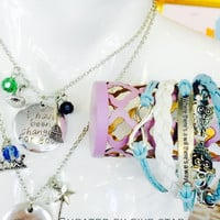 """Wicked Inspired """"Because of You, I have been changed for good"""" Necklace Set Plus a Free Bonus Owl Bracelet- next day shipping/palm beach"""