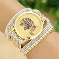 Women's Boho Elephant Print Beaded Bracelet Wrap Watch