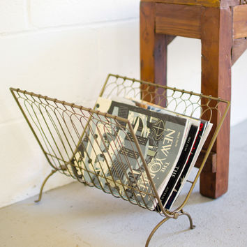 Folding Wire Magazine Rack- Antique Brass