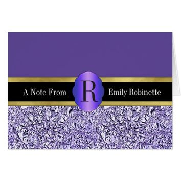 Contemporary Crumpled BlueFoil Effect Personalized Card