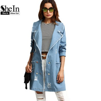 SheIn Autumn Casual Blue Trench Coat Pocket Long Outerwear Turn Down Collar Double Breasted Distressed Denim Trench Coat