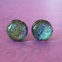 Dichroic Multicolored Stud Earrings, Hypoallergenic Studs, Classic Jewelry, Glass Fusing - Taite - 131 -4
