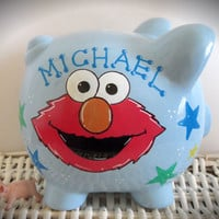 Personalized Hand Painted Piggy Bank With Elmo Pattern