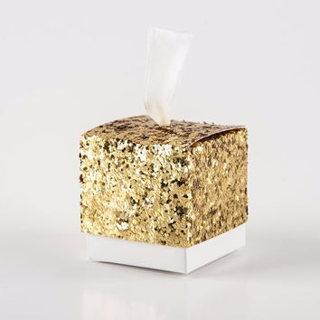 50pcs Bling Sequin Gift Box Present Packaging Caixa Candy Box Wedding Favor and Gifts Marriage Embalagem Wedding Decoration Box