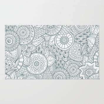 Abstract Floral Pattern Rug by Smyrna