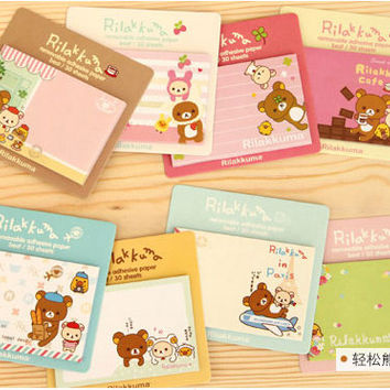 Rilakkuma Mini Memo Pad Rilakkuma Sticky Notes Kawaii Paper Gift DIY craft Sticker Journaling Agenda Post-it Tag korean Booklet Bear MD42