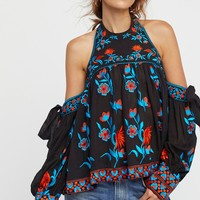 Free People Jasmine Blooms Embroidered Top