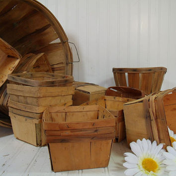 Vintage Set of a Dozen Wood Berry Baskets - Farm House Fresh Finds for Storage - 12 Rustic Organizer Bins Collection - 4 Sets / 48 Available