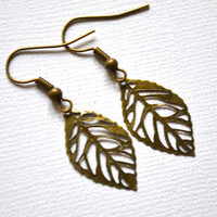 Antiqued Brass Filigree Leaves  Earrings  Tiny  by MerelaniDesigns