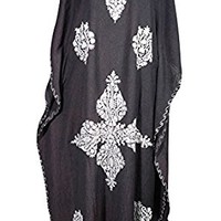 Mogul Womens Kashmiri Caftan Floral Embroidered Cover Up Kaftan Evening Maxi Dress