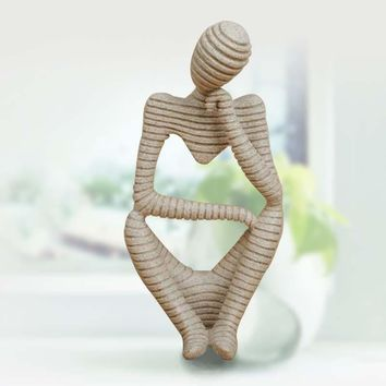 "Sandstone Stripes Abstract ""Thinker "" Resin Figurine"
