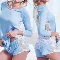 Pretty Warm Sleepwear Sexy Women Lace Long Sleeve Sexy Pajamas Set