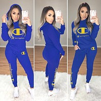 Champion Women Casual Long Sleeve Hoodie Top Pants Two-Piece Blue