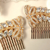 Original Art Deco GOLD Pave Rhinestone Leaf Bridal Hair Comb, 1920s Crystal Fur Clip Great Gatsby Headpiece, Rose Gold Accessory 1 or Pair