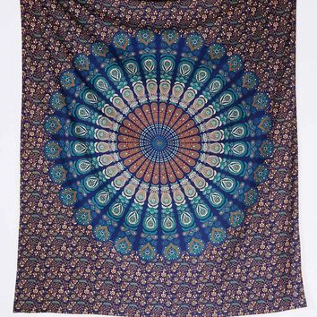 Paisley Medallion Tapestry in Turquoise - Urban Outfitters