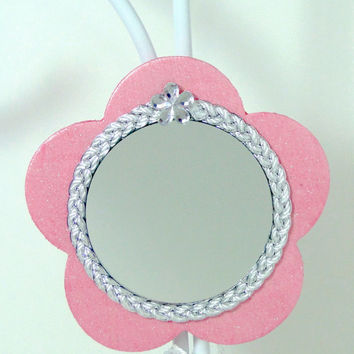 "Mirror Magnet Flower Shaped Pink & Silver 2"" Round Hand-Painted Wood Great Valentine's Day gift"