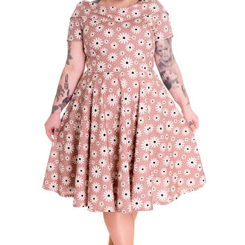 Hell Bunny Plus 50s Lovely Lady Daisy Floral Polka Dot Party Dress Latte Brown
