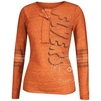 Reebok Philadelphia Flyers Women's CCM Tri-Blend Henley Long Sleeve T-Shirt - Orange