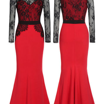 Red Lace Splice Off Shoulder Formal Evening Dress