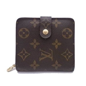 Auth LOUIS VUITTON Monogram Compact Zip Bifold Wallet Brown/Goldtone - e34676