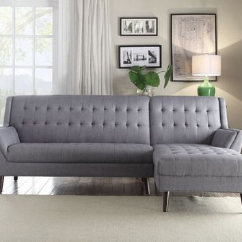 Acme 53850 2 pc Watonga light gray linen tufted back sectional sofa set