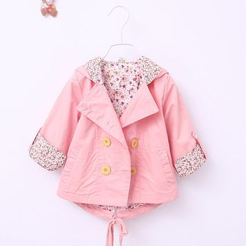 2016 new girl jacket spring fall girl double breasted cardigan baby baby child lace jacket high quality free shipping