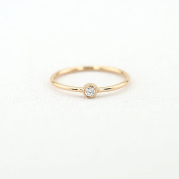 Gold Solitaire Diamond Ring/ Stackable Thin Gold Band Diamond Ring/ Made to Order Non-Conflict Diamond Custom Color Gold Ring/ R11001