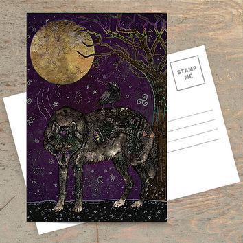 I Don't Speak Human - Postcard, Animal Postcard, Wildlife Postcard, Wolf Postcard, Wolves, Raven, Crow, Fantasy Art, Illustration, Art Card