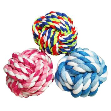 3pcs Pet Puppy Rope Dogs Cotton Chews Toy Ball Play Braided Bone Knot  for Cleaning Teeth random color