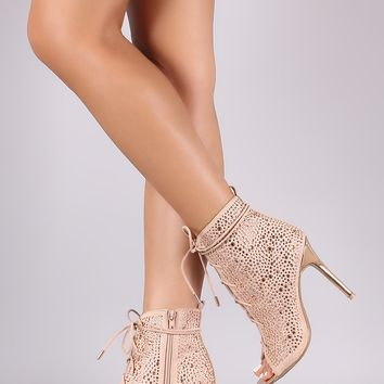 Anne Michelle Suede Rhinestone Accent Heeled Lace Up Booties