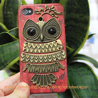 Cute Owl Hard Case For Apple Iphone 4g/4s by handworld