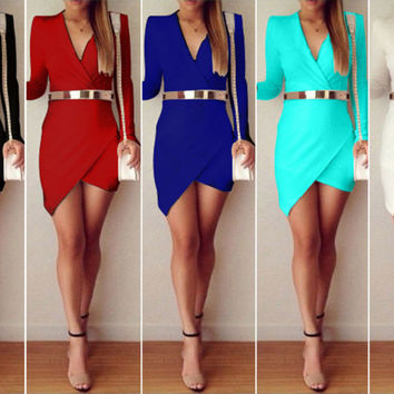 Women Bandage Bodycon V Neck Asymmetric Evening Party Skirt Cocktail Mini Dress
