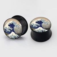 ac DCCKO2Q 2 pieces Great Wave plugs anodized black ear plug gauges steel flesh tunnel earlets body piercing jewelry 1 pair