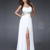 A-line Empire Waist Split Side Chiffon Prom Dress from SinoSpecial