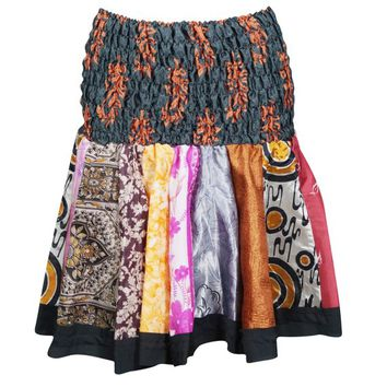 Summer Fashion Flared Skirt RUCHED Waist Silk Vintage Printed Colorful Skater Skirts