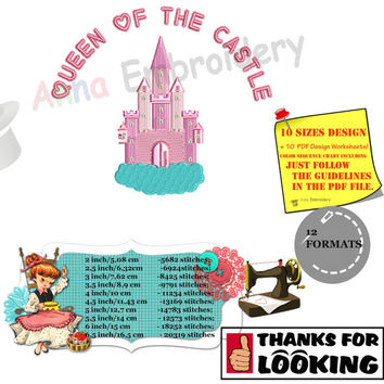 Pink Castle Embroidery Machine Design-Queen-Princess-Fairy-Pes