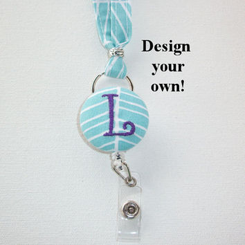 Lanyard ID Badge Holder with detachable reel - Skinny design - Design your own custom monogram herringbone gift for her