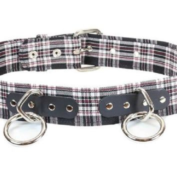 """Black & White Plaid 1-1/2"""" O Ring & D Rings Leather Belt 1-3/4"""" Wide"""