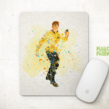 Captain Kirk Mouse Pad, Star Trek Watercolor Art, Mousepad, Office Deco, Gifts, Art Print, Child's Room, Desk Decor, Star Trek Accessories