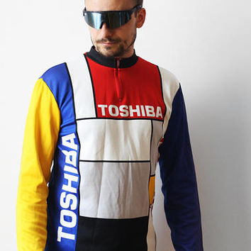 1988 Vintage TOSHIBA cycling jersey / Biking T-shirt Longsleeves Tshirt / Giro D'Italia Mondrian style color block / made in Italy / M L 80s