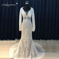 Leeymon Sexy Mermaid Lace Wedding Dress 2017 Long Sleeves Backless Wedding Gown Boho Wedding Dress Customize LY7288